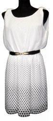 Платье белое  с купоном в горох